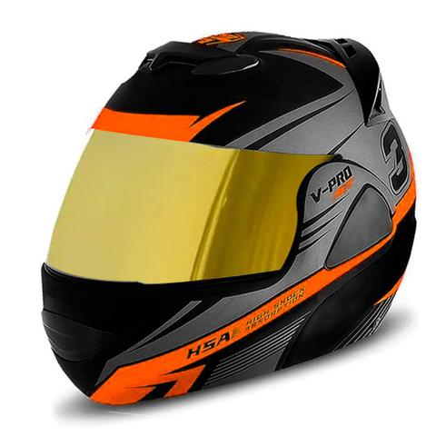 Imagem de Capacete de moto escamoteavel pro tork v-pro jet 3 laranja vis. dourada tam 58