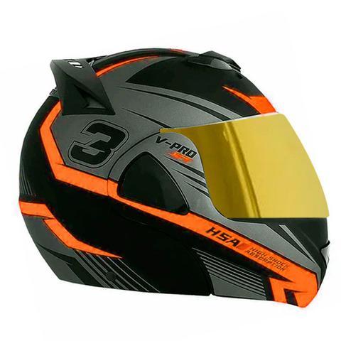 Imagem de Capacete de moto escamoteavel pro tork v-pro jet 3 laranja vis. dourada tam 60
