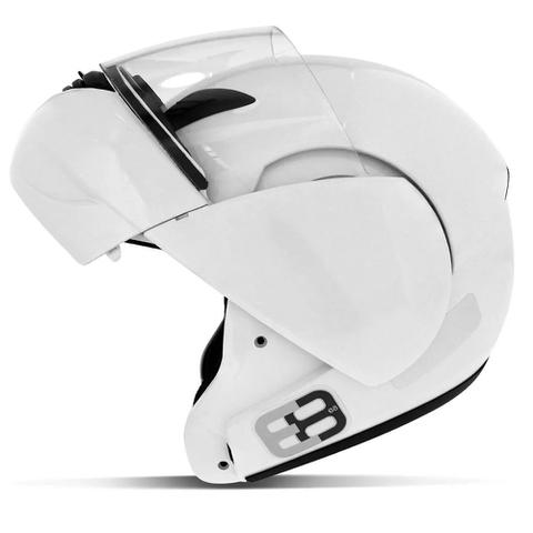 Imagem de Capacete E8 Robocop N56 Branco Articulado Com Viseira Ebf
