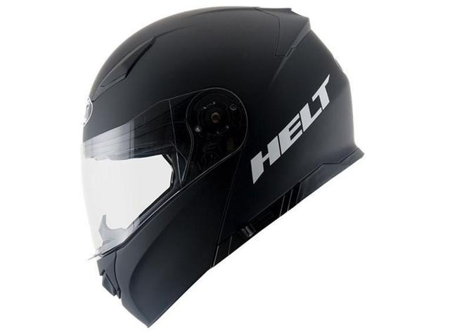 Imagem de Capacete Escamoteável Helt 950 Hippo Glass Preto Fosco C/ Viseira Interna Fumê