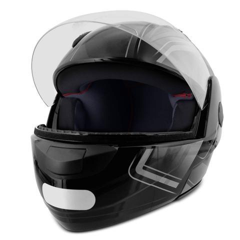 Imagem de Capacete Escamoteável Robocop EBF Novo E8 Drift Preto e Prata Moto