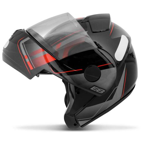 Imagem de Capacete Escamoteável Robocop EBF Novo E8 Drift Preto e Vermelho Moto