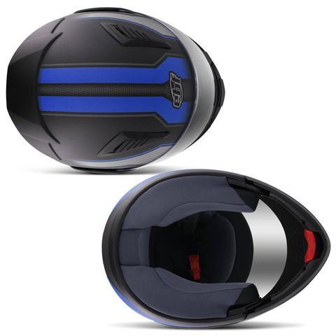 Imagem de Capacete Escamoteável Robocop EBF Novo E8 Performance Preto Fosco e Azul Moto