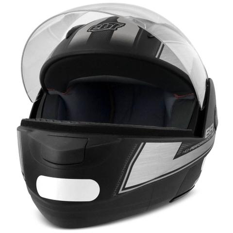 Imagem de Capacete Escamoteável Robocop EBF Novo E8 Performance Preto Fosco e Prata Moto - EBF Capacetes
