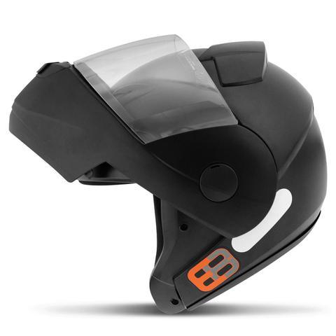 Imagem de Capacete Escamoteável Robocop EBF Novo E8 Solid Preto Fosco Moto