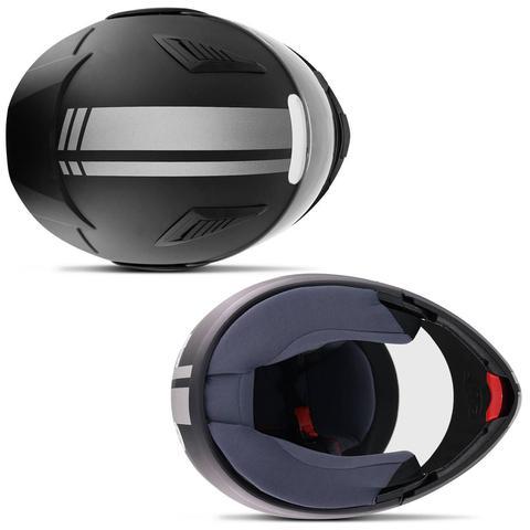 Imagem de Capacete Escamoteável Robocop EBF Novo E8 Street Line Preto Fosco e Prata Moto