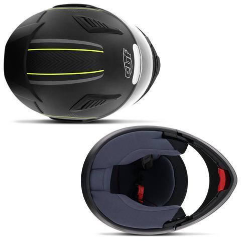 Imagem de Capacete Escamoteável Robocop EBF Novo E8 V Power Preto Fosco e Amarelo Moto
