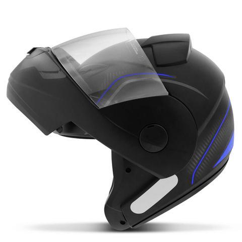 Imagem de Capacete Escamoteável Robocop EBF Novo E8 V Power Preto Fosco e Azul Moto