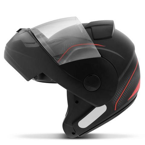 Imagem de Capacete Escamoteável Robocop EBF Novo E8 V Power Preto Fosco e Vermelho Moto