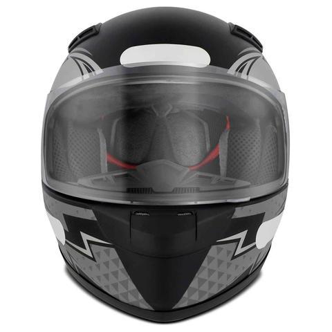 Imagem de Capacete Fechado com Narigueira EBF E-Zero-X Shock Preto Fosco Prata Vermelho Moto