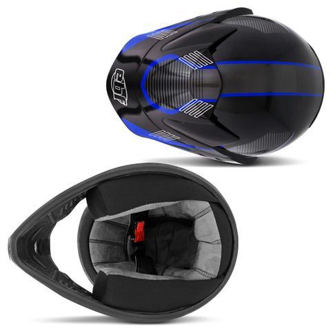Imagem de Capacete Fechado EBF Super Motard Gravity Preto Brilhante Vermelho Azul Moto