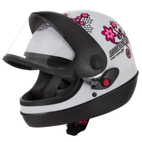 Imagem de Capacete feminino de moto sport moto branco for girls