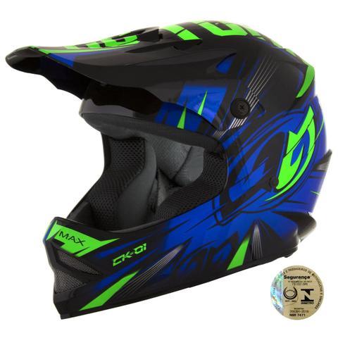 Imagem de Capacete Infantil Motocross CK-01 Preto e Azul Pro tork