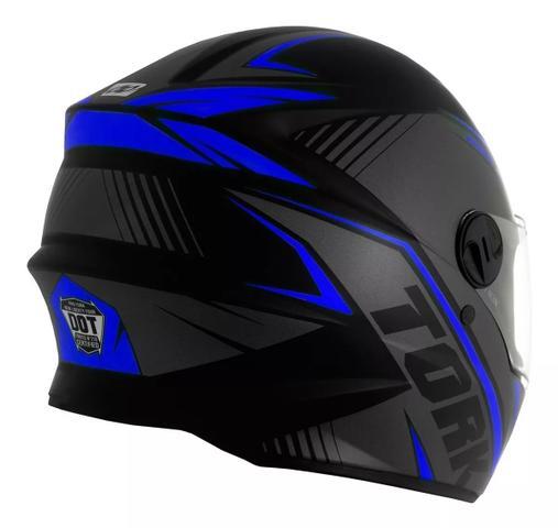 Imagem de Capacete moto fechado r8 azul pro tork