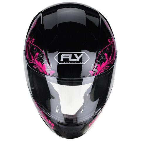 Imagem de Capacete Moto Feminino Fly F-9 Lyrical Preto Fosco Rosa