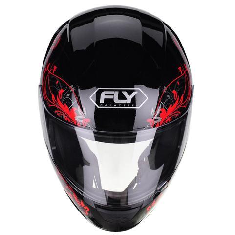 Imagem de Capacete Moto Feminino Fly F-9 Lyrical Preto Fosco Vermelho