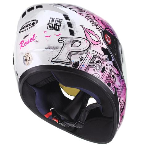 Imagem de Capacete Moto Feminino Peels Icon Revel Branco Rosa Perolado Viseira Solar