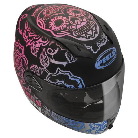 Imagem de Capacete Moto Feminino Peels Icon Sweet Preto Fosco Rosa Com Óculos Solar Interno