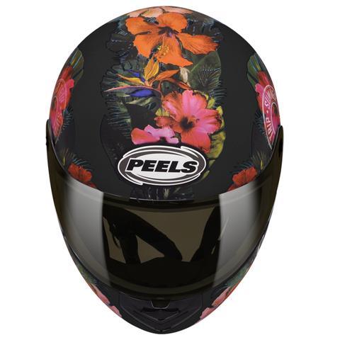 Imagem de Capacete Moto Feminino Peels Spike Tropical Preto Fosco Flores