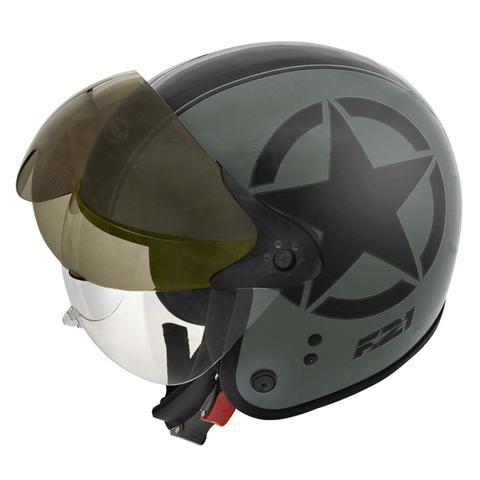 Imagem de Capacete Moto Peels F-21 Us Army Verde Militar Preto Fosco Com Duas Viseiras
