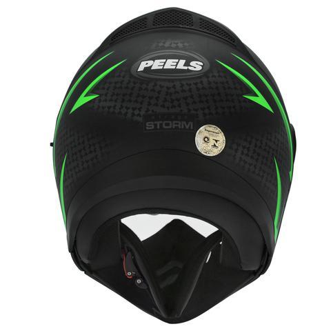 Imagem de Capacete Moto Peels Mirage Storm Preto Fosco Verde Com Óculos Solar