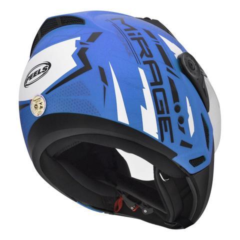 Imagem de Capacete Moto  Peels Mirage Techride Azul Fosco Com Óculos Solar