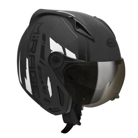 Imagem de Capacete Moto Peels Mirage Techride Preto Chumbo Fosco Com Óculos Solar