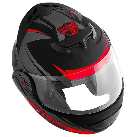 Imagem de Capacete Moto Pro Tork Articulado Escamoteável V-pro Jet 3 Preto Fosco Vermelho