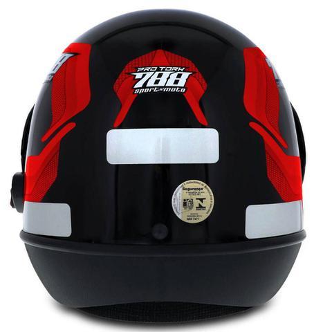 Imagem de Capacete Moto Vermelho Masculino Tipo Sanmarino 788 Automático 58/60 Pro Tork