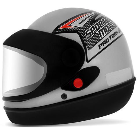 Imagem de Capacete Prata Moto Automático Tipo Sanmarino Masculino 58/60 Pro Tork