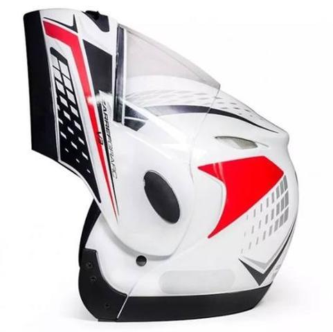 Imagem de Capacete Taurus Zarref Grafic Branco Robocop Articulado escamoteavel moto Tamanho 58