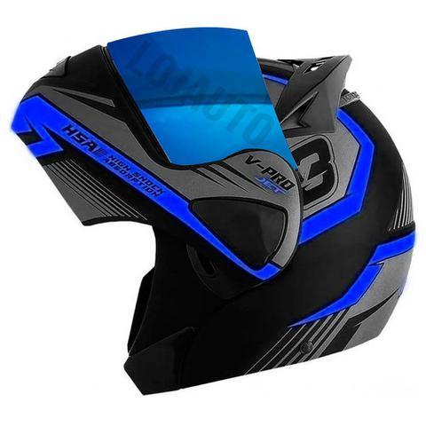Imagem de Capacetede Moto Escamoteável Robocop Pro Tork V-Pro Jet 3 Azul com viseira Iridium tam 62