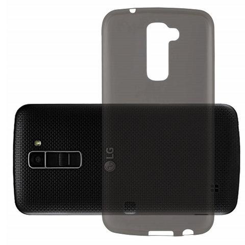 Imagem de Capinha Silicone Premium Fumê Capa Ultra Fina para LG K10 + Película