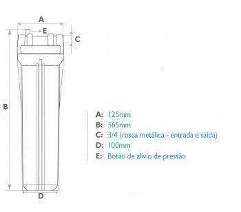 Imagem de Carcaça Filtro De Agua 20 Polegadas Slim Azul Rosca 3/4