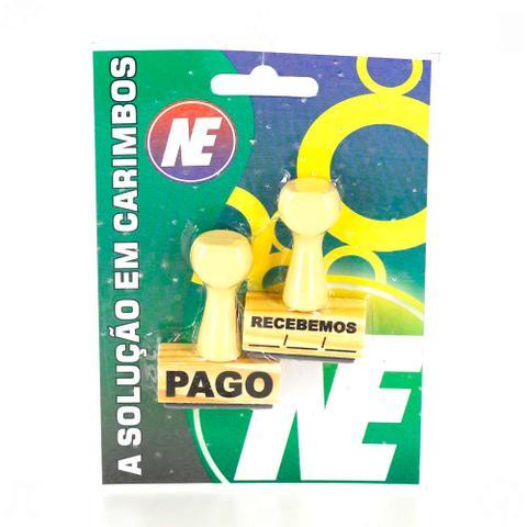 Imagem de Carimbos de Madeira Pago e Recebemos 15x40mm Nova Era