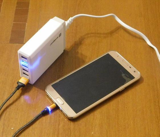 Imagem de Carregador 6 Entradas USB + Cabo Magnético Sumexr Para Celular I Phone I6, i6 Plus 7, X,10