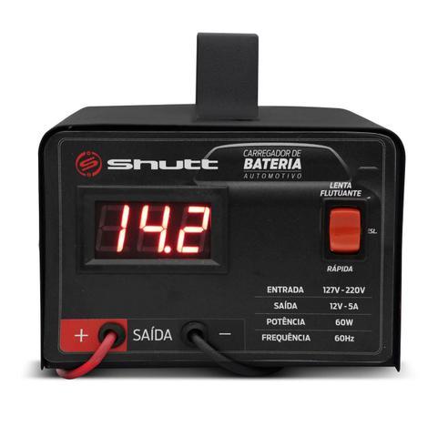 Imagem de Carregador Bateria Automotivo Para Caminhão Shutt Bivolt 12V 5A 60W Com Voltímetro Digital
