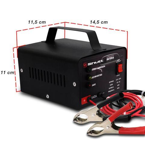 Imagem de Carregador Bateria Automotivo Para Carro Shutt Bivolt 12V 5A 60W Com Led Indicador Auxiliar Partida
