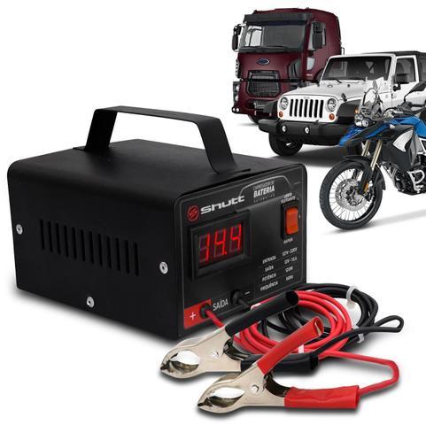 Imagem de Carregador Bateria Automotivo Shutt Bivolt 12V 10A 120W Com Voltímetro Auxiliar Partida Preto
