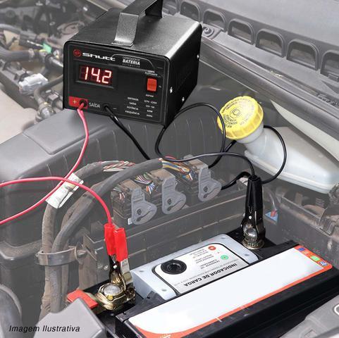 Imagem de Carregador Bateria Automotivo Shutt Bivolt 12V 5A 60W Com Voltímetro Auxiliar Partida Preto
