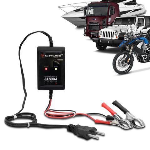 Imagem de Carregador de Bateria Automotivo Shutt Bivolt 12V 2000mAh 24W Com Led Auxiliar Partida Preto
