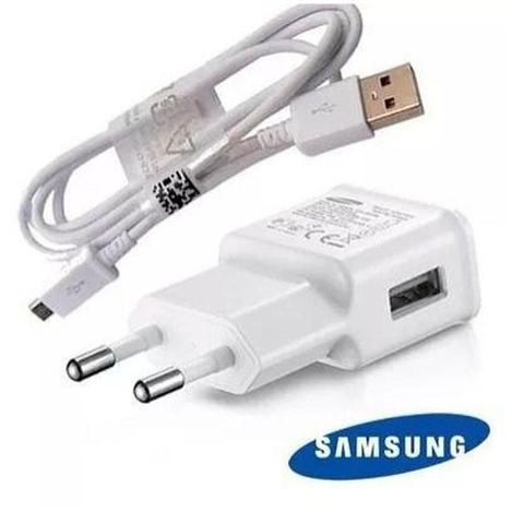 Imagem de Carregador de Celular Samsung Galaxy Original Branco + Cabo Usb V8 Original J1 j2 j3 j4 j5 j7 Gran P