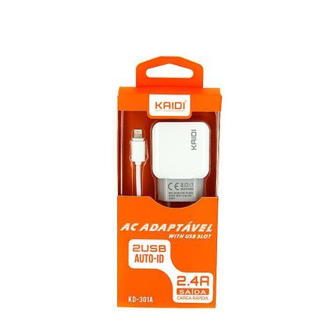 Imagem de Carregador De Parede De Iphone Tipo Lightning Com 2 Saídas USB 2.4A Carga Rápida Branco KD-301A - Kaidi