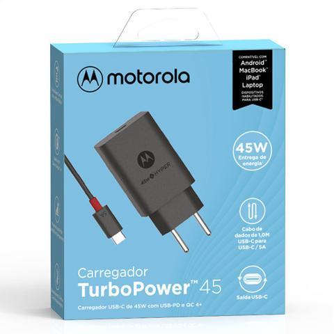 Imagem de Carregador De Parede Motorola Turbo Power 45w Com Cabo Usb-C Preto