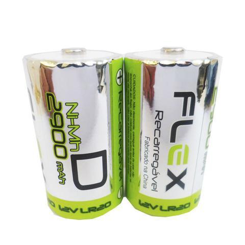 Imagem de Carregador de Pilhas Flex AA AAA C D ou Baterias 9v Led com 4 Pilhas D 2900mAh Recarregáveis FX-C06