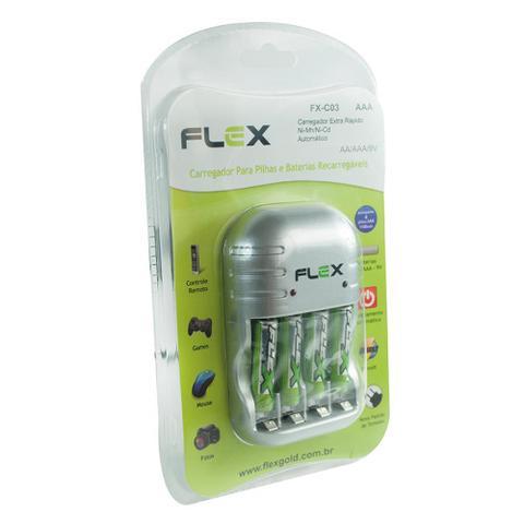 Imagem de Carregador de Pilhas Modelos AA e AAA - Flex Gold - Pilhas AAA Incluso