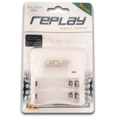 Imagem de Carregador de Pilhas para 2 Pilhas AA/AAA 110/220 com Led  03O122 Replay/Unicoba