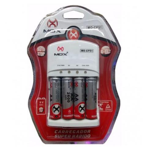 Imagem de Carregador de Pilhas Rápido MOX CP-51 + 4 Pilhas AA 2600 mah