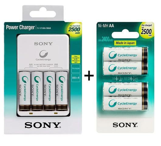 Imagem de Carregador de Pilhas Sony com 8 Pilhas Aa Recarregáveis 2500mAh Multi Uso BCG-34HHGN Bivolt Branco