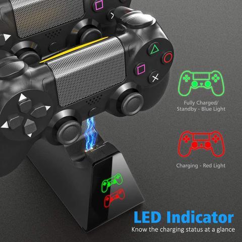 Imagem de Carregador Duplo Para Controle PS4 C/ Led Indicador de Carga Dobe